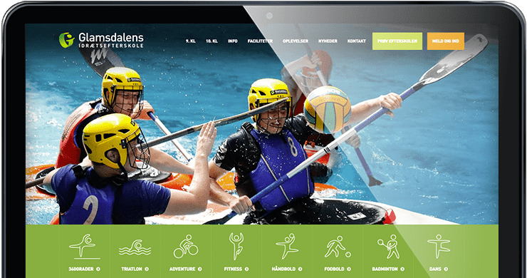 Glamsdalen Efterskole hjemmeside